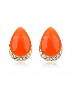 Korean Fashion Opal Waterdrop Shape Ear Studs - Orange