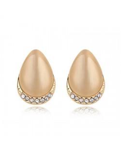 Korean Fashion Opal Waterdrop Shape Ear Studs - Beige
