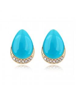 Korean Fashion Opal Waterdrop Shape Ear Studs - Blue