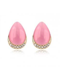 Korean Fashion Opal Waterdrop Shape Ear Studs - Pink