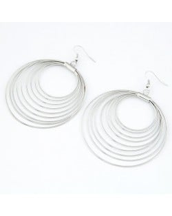 Korean Fashion Multiple Hoops Earrings - Silver