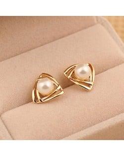Korean Fashion Pearl Inlaid Golden Hollow Triangles Ear Studs