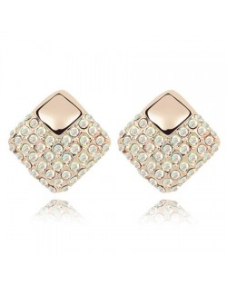 Korean Fashion Colorful White Crystal Square Gold Plated Ear Studs