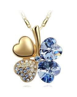 Sweetie Austrian Crystal Gloden Four Leaf Clover Necklace - Light Blue
