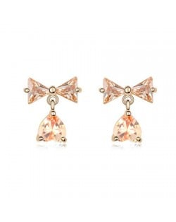 Bowknot with Dangling Inverted Heart Zircon Earrings - Champagne