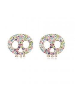 Austrian Crystal Inlaid Elf Skull Fashion Ear Studs - Multicolor