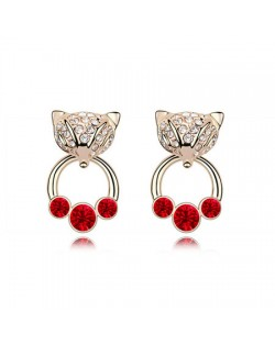 Austrian Crystal Cunning Fox Earrings - Red