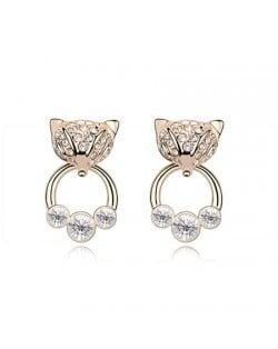 Austrian Crystal Cunning Fox Earrings - Transparent
