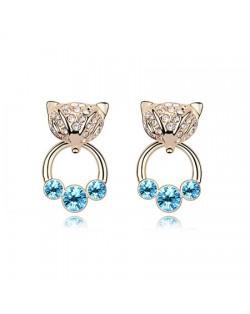 Austrian Crystal Cunning Fox Earrings - Blue