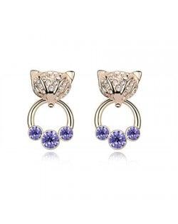 Austrian Crystal Cunning Fox Earrings - Purple