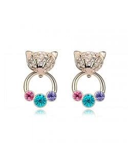 Austrian Crystal Cunning Fox Earrings - Colorful