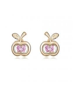 Pink Zircon Inlaid Golden Apple Ear Studs