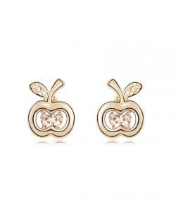Champagne Zircon Inlaid Golden Apple Ear Studs