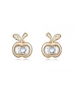 Transparent Zircon Inlaid Golden Apple Ear Studs