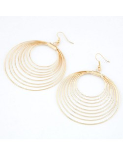 Korean Fashion Multiple Hoops Earrings - Gold