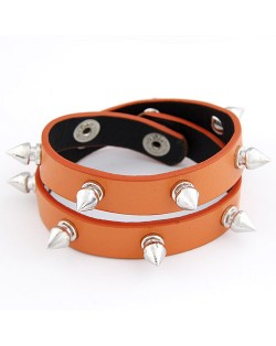 Dual Layer Rivets Punk Fashion Bracelet - Brown