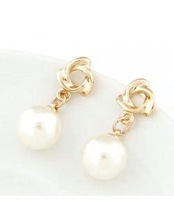 Korean Fashion Golden Revolving Shape Dangling Pearl Earrings