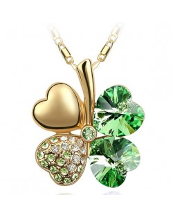 Sweetie Austrian Crystal Gloden Four Leaf Clover Necklace - Olive