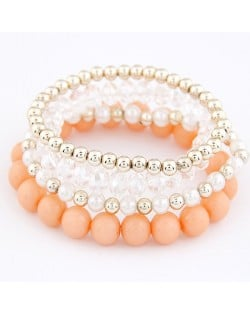 Korean Summer Fashion Candy Beads Combo Bracelet - Light Orange