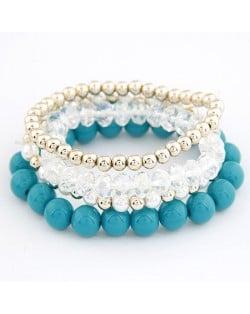 Korean Summer Fashion Candy Beads Combo Bracelet - Blue
