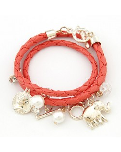 Korean Fashion Assorted Elephant Coin and Pearl Pendants Bracelet - Red