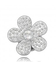 Glistening Flower Design Austrian Crystal Brooch - Transparent