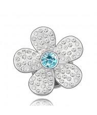 Glistening Flower Design Austrian Crystal Brooch - Blue