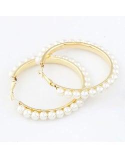 Star Fashion White Pearl Hoop Earrings