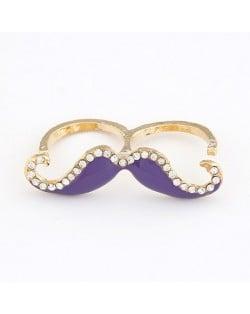 Korean Fashion Rhinestone Inlaid Mustache Bicyclic Ring - Purple