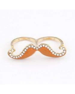 Korean Fashion Rhinestone Inlaid Mustache Bicyclic Ring - Orange
