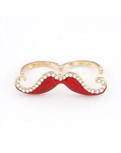 Korean Fashion Rhinestone Inlaid Mustache Bicyclic Ring - Red