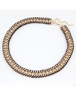 Rhinestone Inlaid Metallic Weaving Chunky Necklace - Coffee