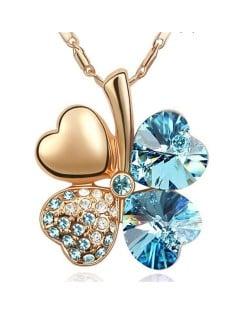 Sweetie Austrian Crystal Gloden Four Leaf Clover Necklace - Aquamarine