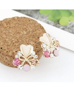 Rhinestone Surrounded Heart Shape and Bowknot Earrings