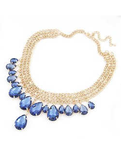 Acrylic Waterdrops Gem Chunky Necklace - Blue