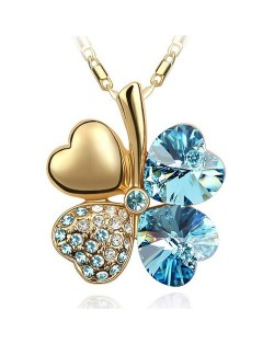 Sweetie Austrian Crystal Gloden Four Leaf Clover Necklace - Golden Aquamarine