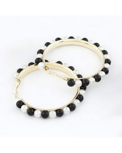 Star Fashion Black And White Pearl Hoop Earrings