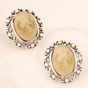 rhinestone rimmed graceful lady rilievo earrings ivory