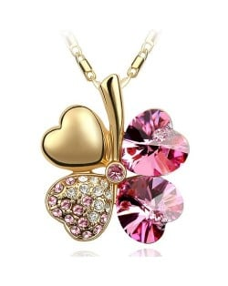 Sweetie Austrian Crystal Gloden Four Leaf Clover Necklace - Pink