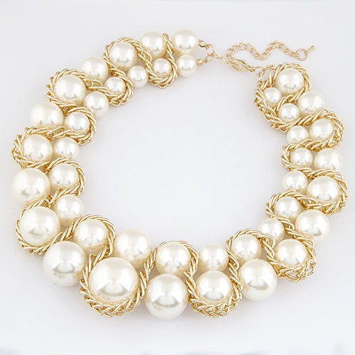 Alloy Weaving Style Attached Design Two Layer Pearls Costume Necklace - White
