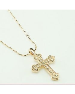 Austrian Rhinestone Inlaid 18K Rose Gold Vintage Cross Pendant Necklace
