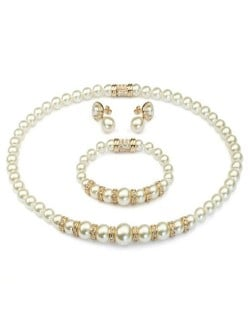 Luxurious Rhinestone Inlaid Pearls String Rose Gold Necklace Bracelet and Earrings Set