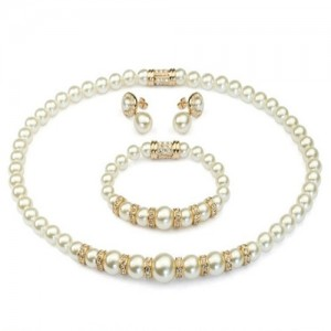 Luxurious Rhinestone Inlaid Pearls String Rose Gold Necklace