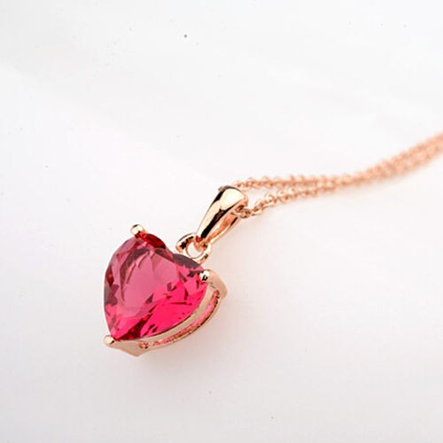 red pendant item heart edi necklace shape solitaire genuine natural love exquisite rose valentine chain ruby gold gemstone girlfriend
