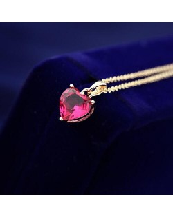 Sweet Red Zirconia Heart Pendant Rose Gold Necklace