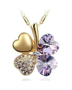 Sweetie Austrian Crystal Gloden Four Leaf Clover Necklace - Violet