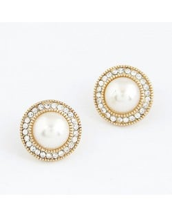 Elegant Pearl Pendants Crystal Decorated Alloy Earrings