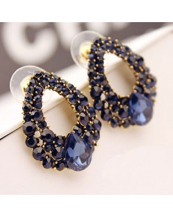 Luxurious Baroque Style Czech Rhinestone All-over Inlaid Hoop Ear Studs