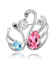 Swan Lake Love Austrian Crystal Brooch - Pink