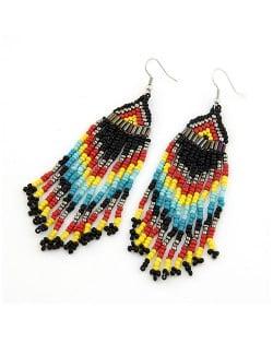 Bohemian Beads Tassels Style Dangling Earrings - Black